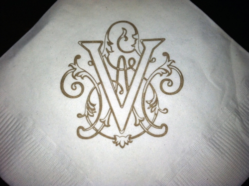 The Vanderbilt crest on a napkin at Cedric's.